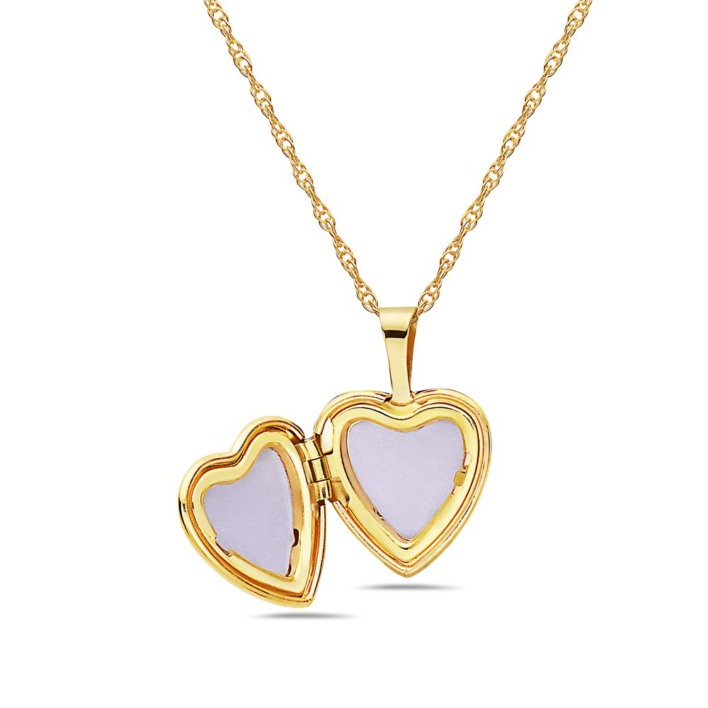 Pori Jewelers 14K Solid Yellow Gold 12mm Heart Locket Pendant Necklace-in 14K Gold Rope Chain Available (18, Heart with Arrows) by Pori Jewelers (Image #2)