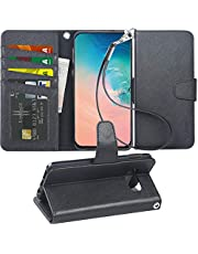 Arae For Samsung Glaxy S10E Case, PU Leather Phone Case With Card Slots and Wallet For Samsung S10E,Black