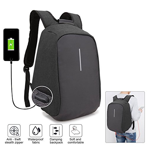 Backpack thief Travel Zipper Daypack Men Laptop Business Anti Women USB with ONENICE Black with Port and Compartment Lightweight for Waterproof Hidden Charging Bag College w7Idqqc5
