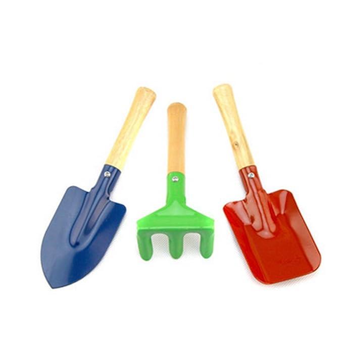 Rocita Kinder Gartengeräte, Set inkl. Spaten, Blatt Rechen, Schaufel, Gartenwerkzeuge Spielzeugen, Outdoor und Lernen Spielze