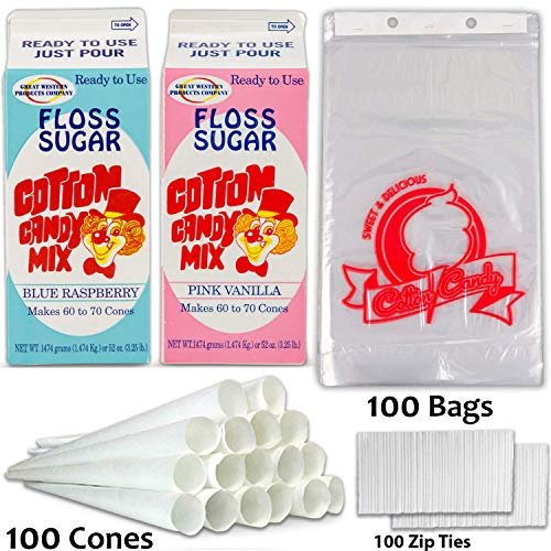 Review Of Cotton Candy Supplies Includes Cotton Candy Sugar Floss - Blue Raspberry and Pink Vanilla ...