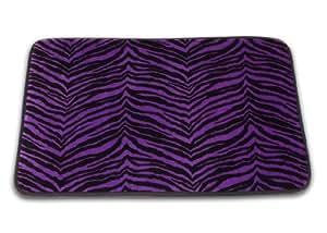 "Memory Foam Bath Mat Zebra Stripe Print (Purple, 20"" x 30"")"