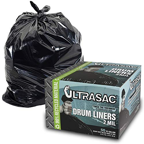 Heavy Duty 55 Gallon Trash Bags - (Large 50 Pack/w Ties) - 2 MIL Industrial Strength Plastic Drum Liners 38' x 58' Professional Black Garbage Bags for Construction, Contractors, Leaf, Yard ()