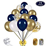 Navy Blue and Gold Confetti Balloons Party Decoration Supplies 70pcs 12 inch Gold Metallic Pearl White Balloons for Navy Party, Baby Shower, Wedding, Graduation, Bachelorette, Birthday Decorations, with 2 Balloon Strips, 2 Foil Ribbon