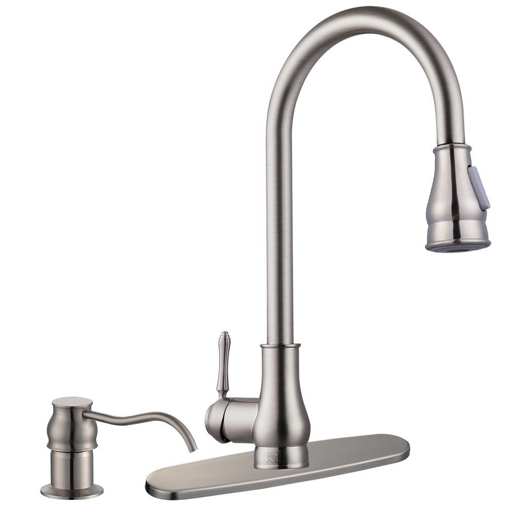 "Pull Down Faucet with Soap Dispenser Brushed Nickel Single Handle Pull-out for Kitchen Bar Sink Deck Mounted 18"" (CUPC NSF Certification)"