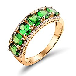 Yellow Gold With Tsavorite Gemstone Diamond Ring