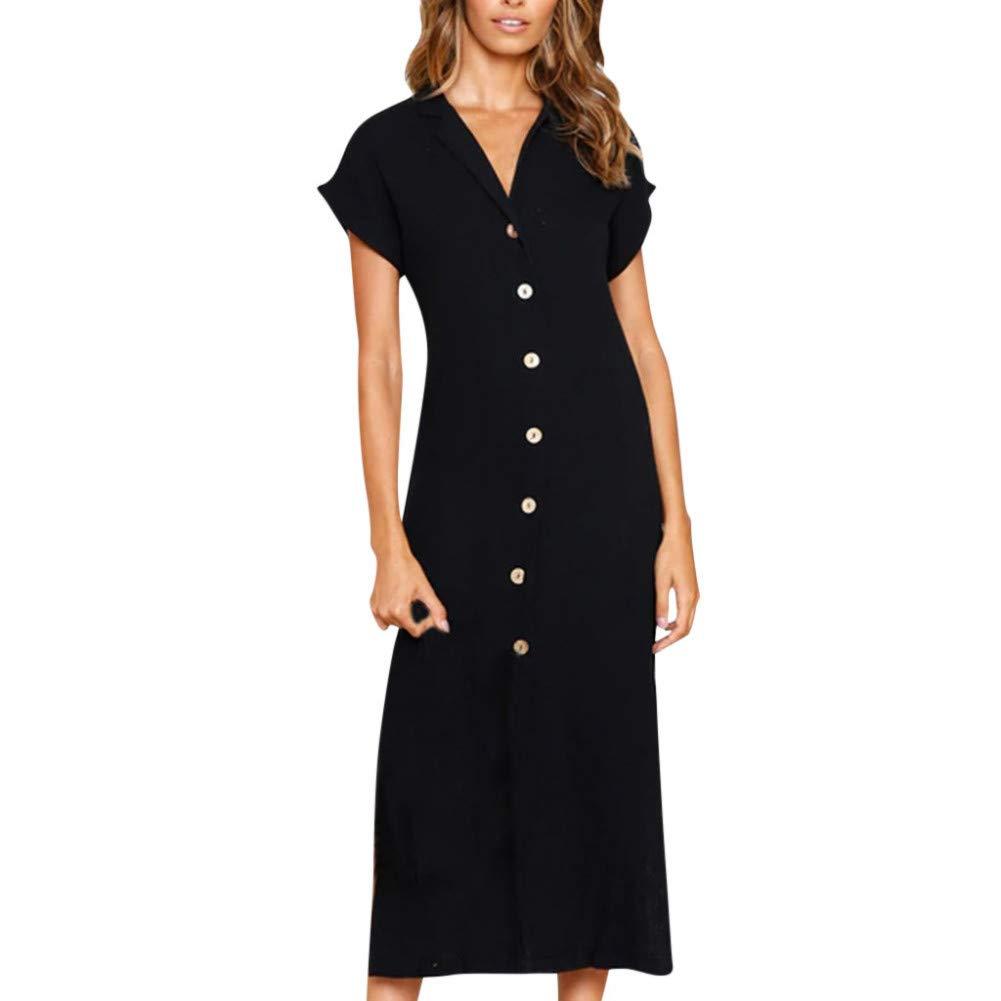 MBSDDH Dress Elegant Shirt Women Lapel Casual Solid Roll Up Short Sleeve Split Hem Work Dress Black