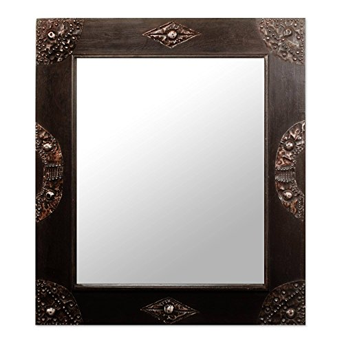 NOVICA Sese Wood Square Wall Mounted Mirror with Brass Accents, in Perfect Shape' (Unusual Mirror Frames)