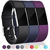 (US) For Fitbit Charge 2 Bands (3 Pack), Black, Blue and Plum, Small