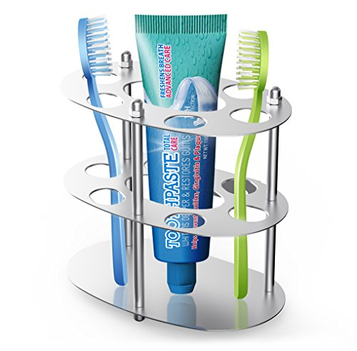 Coobal Toothbrush Holder, Stainless Steel Toothbrush and Toothpaste Holder, Razor Blade Organizer Stand for Bathroom -Round by Coobal
