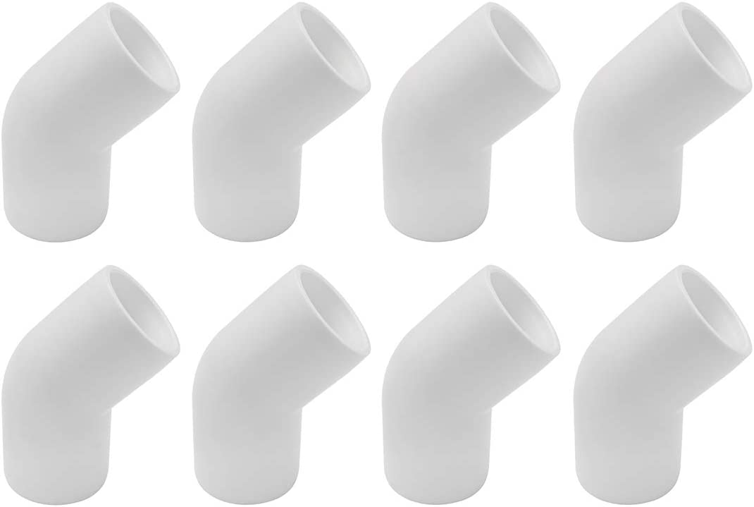 """SDTC Tech 8-Pack 1"""" 45 Degree Elbow PVC Fitting Furniture Grade Pipe Connector for DIY PVC Shelf Garden Support Structure Storage Frame"""