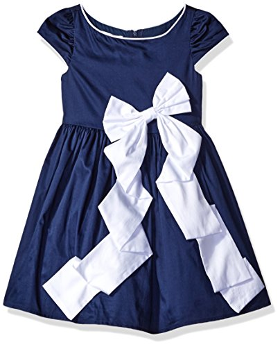 Biscotti Little Girls Rose Reflection Navy dress with White Bow, Navy/White, 4
