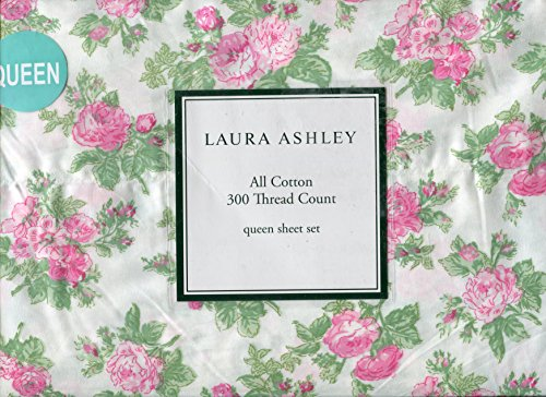 (Laura Ashley Iona Pink Floral Rose Sheet Set, Queen)