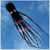 Amazona's Presentz® Black 3D 24ft Large Octopus Paul Parafoil Kite Black with Handle & String, Beach Park Outdoor Fun