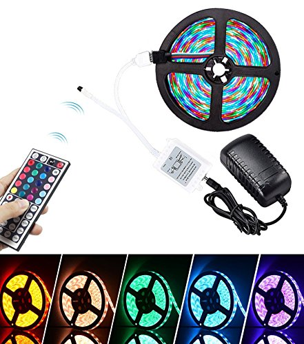 Mscrosmi Waterproof Flexible Easy Installation Color Changing RGB SMD 3528 16.4 Ft (5M) 300leds LED Strip Lights with Power Supply and 44key IR Remote Controller.