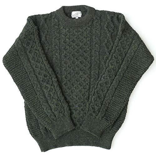 (Kerry Woollen Mills Aran Wool Sweater Green Crewneck Unisex Made in Ireland)