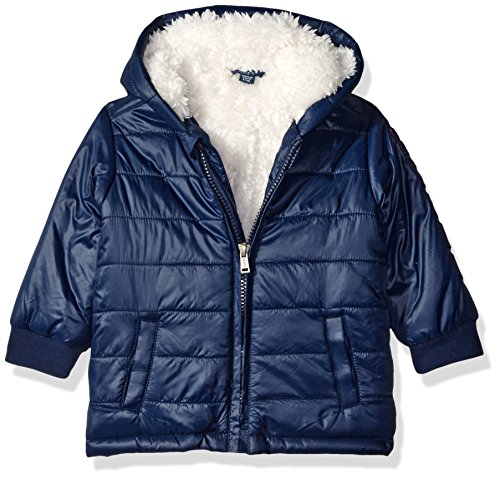 GUESS Baby Boys' Shiny Nylon Puffer Fleece Lined Jacket, Ink Blue, 3/6 Months ()