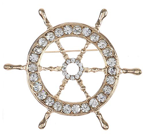 Fashion Jewelry ~ Rhinestone Crystal Brooches Pin (Ship Wheel)