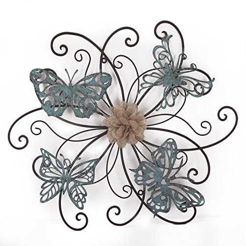 (Adeco DN0015 Flower & Butterfly Urban Design Metal Wall Decor for Nature Home Art Decoration & Kitchen Gifts, Multicolor)