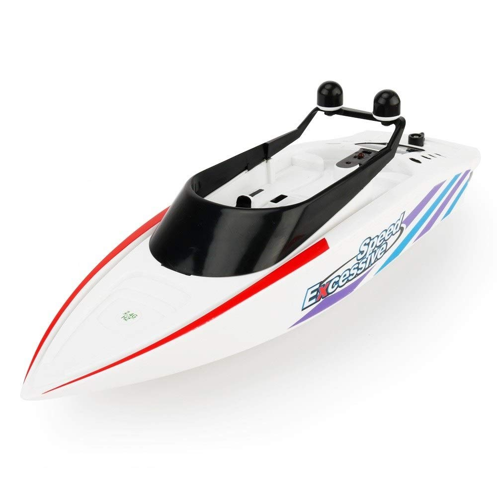 Woote Remote Control Boat, Electric Racing Speedboat 4 Channel Waterproof for Pools and Lakes Summer Children's Water Toy, 2.4GHz RC Racing Boats for Adults and Kids (Color : White )