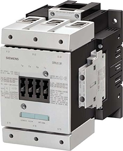 Siemens 3RT1056-6AP36 Contactor, rated at 185 A, 90 kW with a coil voltage of 220-240V with 2 NO + 2 NC auxiliary contacts. Switching Voltage 400 V AC