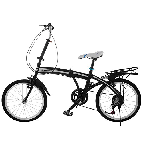 VEVOR Folding Bike 20 Inch Foldable Bicycle 6 Speed Foldable Bike with Steel Frame Shimano Gear (20 inch)