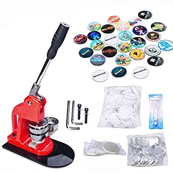 Image of Buttons Seeutek Button Maker Button Maker Machine Button Badge Maker 2-1/4 inch 58mm with 1100 Pcs Button Parts and 2-1/4 inch 58mm Circle Cutter