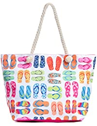 Large Beach Tote Bag, Top Zipper Boat Bag (Flip Flops)