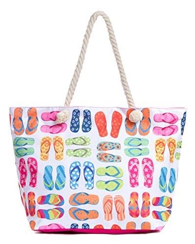 Leisureland Large Beach Tote Bag, Top Zipper Boat Bag (Flip Flops)
