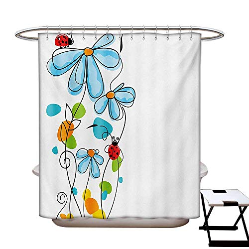 - Ladybugs Shower Curtains Fabric Extra Long Flowers and Oval Dome-Shaped Ladybugs Illustration Never Ending Love Story Luck Symbol Bathroom Set with Hooks W72 x L96 Multi