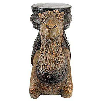 Design Toscano Kasbah Camel Boho Decor Side Table, 21 Inch, Polyresin, Woodtone