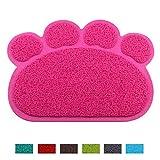 Jomia Pet Dog Cat Puppy Kitten Dish Bowl Food Water Feeding Placemat - PVC Non-Slip Cat Litter Mat Paw Shape (Pink)
