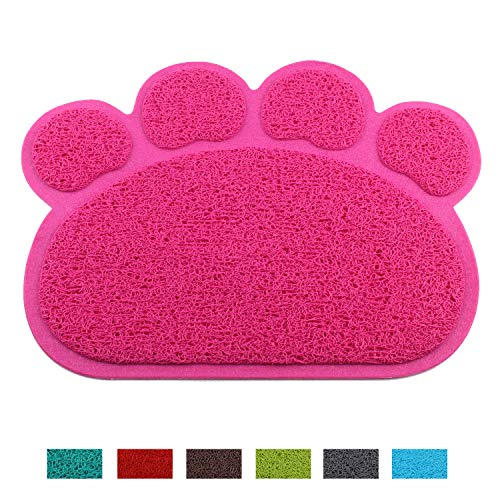 (Jomia Pet Dog Cat Puppy Kitten Dish Bowl Food Water Feeding Placemat, PVC Non-Slip Cat Litter Mat Paw Shape (Pink))