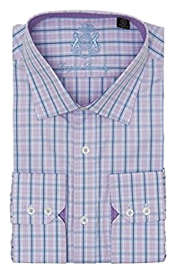 English Laundry Men's 100% Cotton Classic Fit Long Sleeve Purple on Blue Plaid Dress Shirt