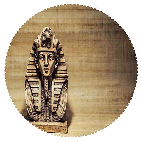 (iPrint Beautiful Round Tablecloth [ Egyptian,Stone Pharaoh Tutankhamen Mask Sculpture Papyrus Background Design,Brown and Light Brown ] Fabric Home Tablecloth Ideas)