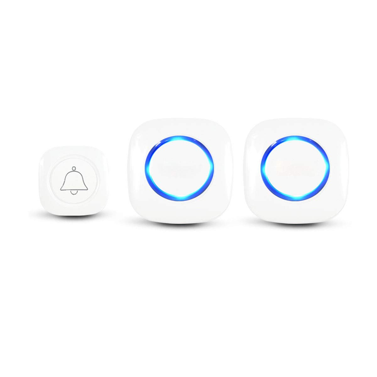 One drag two Doorbell, Wireless Doorbell for Elderly Families, Old Caller (White, with Light Tips) (Edition   One Drag Two)