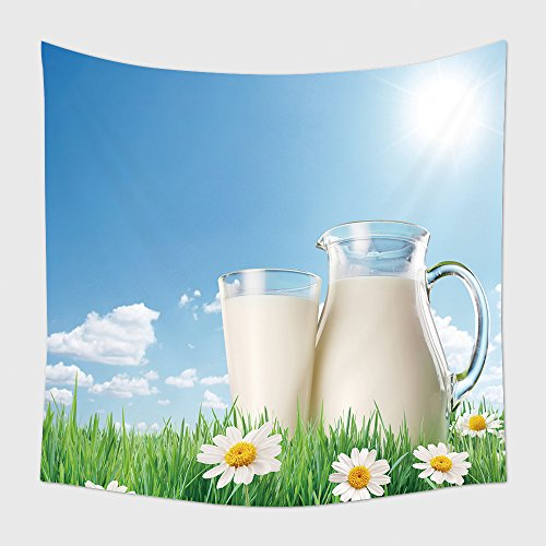 Halloween Decor With Milk Jugs (Home Decor Tapestry Wall Hanging Milk Jug And Glass On The Grass With Chamomiles On A Background Of The Sunny Sky With Clouds 87255979 for Bedroom Living Room Dorm)