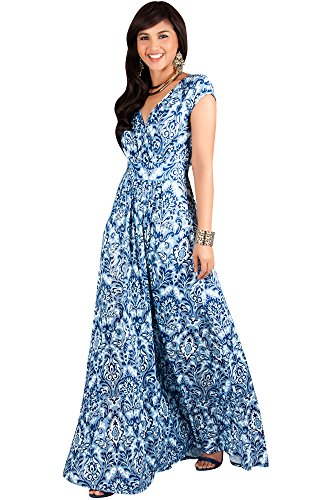KOH KOH Plus Size Women Long Cap Short Sleeve Printed V-Neck Empire Waist Summer Boho Bohemian Maternity Casual Sundresses Gown Gowns Maxi Dress Dresses, Navy Blue and White 3 X 22-24 - Tall Silk Gown
