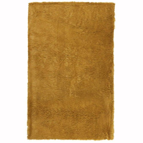 Faux Sheepskin Area Rug, 3'X5', Camel
