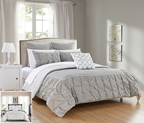 Chic Home 7 Piece Assent Ruffled pinch pleat border with piping detail, REVERSIBLE contemporary printed pattern Twin Bed In a Bag Comforter Set Grey