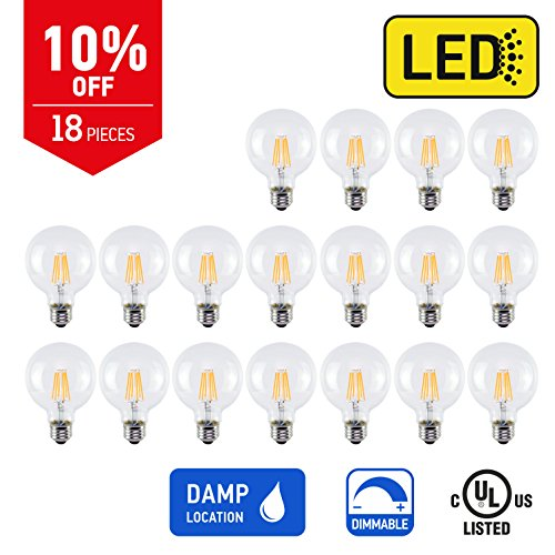 IN HOME LED FILAMENT BULB G25, 6W (75W Equivalent), 600lm, Dimmable, 2200K (Warm white), Medium Base E26, CR80+, (18 Pack), UL listed