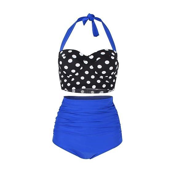 Lover-Beauty Bikini Mujer Dos Pieza Ropa de Baño Vintage Retro Push Up Tirante Traje de Baño Mujer Playa Bikini Talla Grande M-4XL Estampado Lunares ...