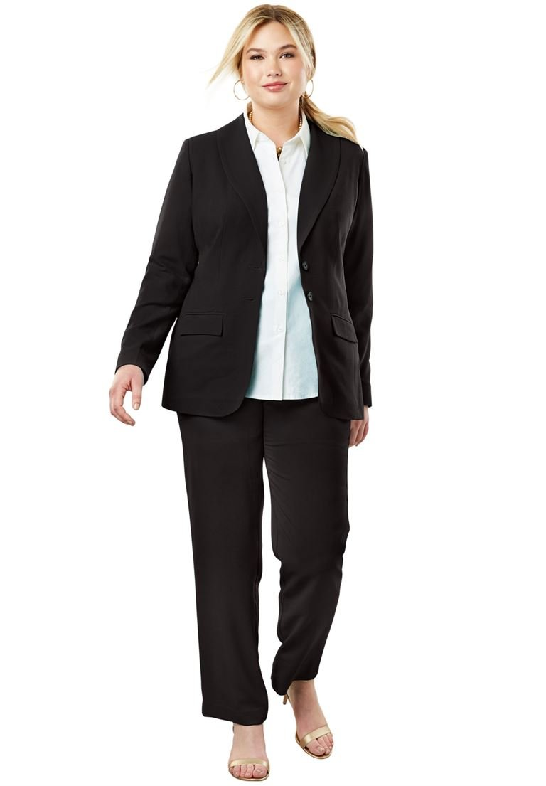 Jessica London Women's Plus Size Single Breasted Pant Suit Black,16 W