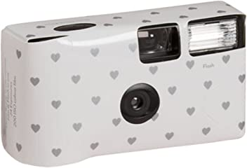 Heart Design Single Use Disposable Wedding Camera Style 5504, White