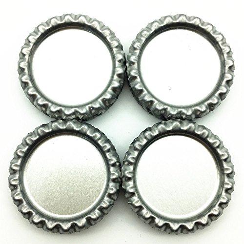 IGOGO 100 PCS Silver Chrome Bottle Caps for Hair Bows, DIY Pendants or Craft Scrapbooks