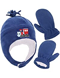 SimpliKids Boys Sherpa Lined Fleece Hat and Gloves Set, Train Royal, M 2-4 Year