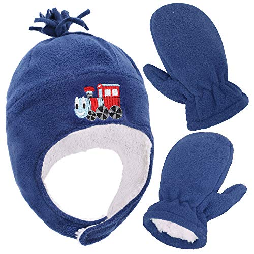 (SimpliKids Boys Sherpa Lined Fleece Hat and Gloves Set, Train Royal, L 5-7 Year)