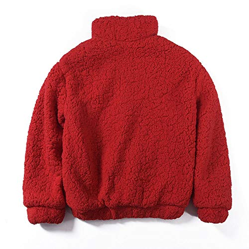 Liraly Cardigan Sweaters For Women New Fashion Womens Winter Warm Pocket Fluffy Coat Fleece Fur Jacket Outerwear Hoodies Wrap Sweater (Red ,US-6 /CN-M) by Liraly (Image #1)