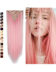 Amazon pink hair extensions extensions wigs s noilite 26 long straight curly light pink 8 pieces pmusecretfo Images