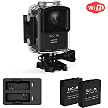 4K Action Camera SJCAM M20 Sports Camera WiFi Cam Wide-Angel GYRO 1.5 inch LCD Screen 30M Water Resistant 2Extra Batteries+ Dual Charger,Waterproof Underwater Cam case -Black